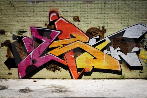 Graffitivägg, tegel