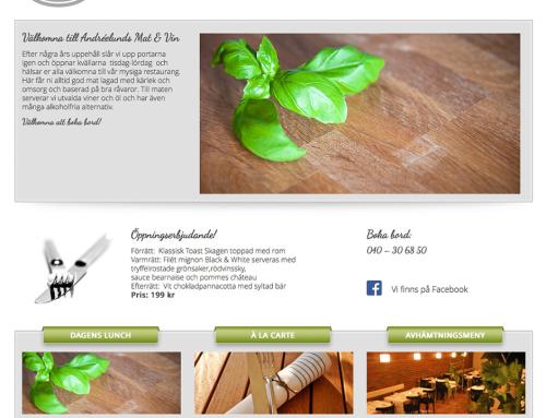 Ny hemsida till Andréelund Mat & Vin